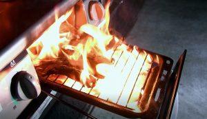 ガスコンロのグリルから出火