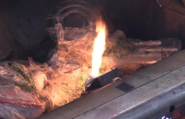 リチウムイオンバッテリーによるごみ収集車火災