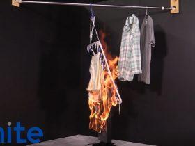 電気ストーブの洗濯物着火事故